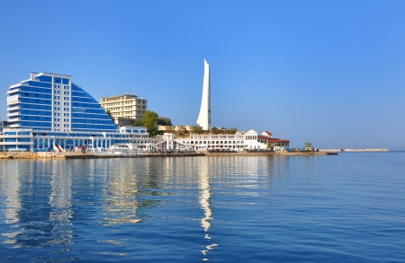 SEVASTOPOL, UKRAINE - OCT 1  Modern hotel on the Sevastopol bay on October 1, 2012 in Sevastopol, Ukraine  The city is situated on the banks of 25 bay,  the largest of them - the Sevastopol bay  Editorial