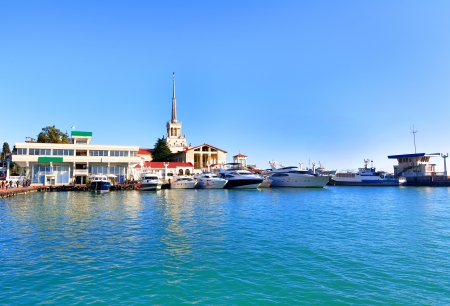Sochi sea port, yachts in a harbor at sunny day