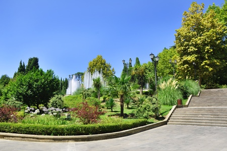 Beautiful tropical park with fountains in Sochi city, Russia photo