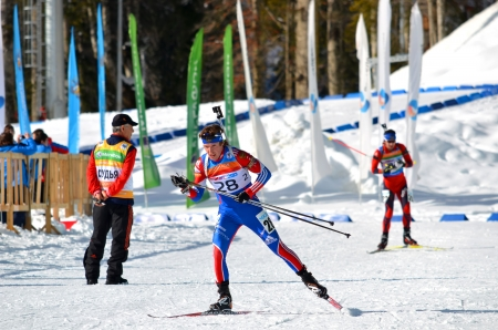 attentiveness: SOCHI, RUSSIA - FEBRUARY 9  Dmitry Blinov competes in IBU Regional Cup in Sochi on February 9, 2013  The combined ski-biathlon complex  Laura   Men Editorial
