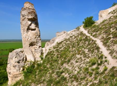 voronezh: Cretaceous outcrops at nature reserve  Divnogorie , Voronezh region, Russia Stock Photo
