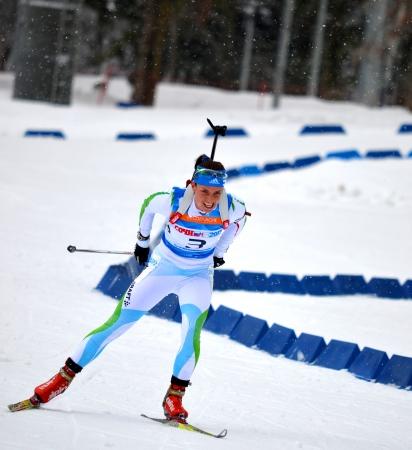 SOCHI, RUSSIA - FEBRUARY 9  Anna Kunaeva competes in IBU Regional Cup in Sochi on February 9, 2013  The combined ski-biathlon complex  Laura   Female prosecution race