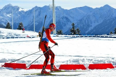 SOCHI, RUSSIA - FEBRUARY 9  Unidentified athletes competes in IBU Regional Cup in Sochi on February 9, 2013  The combined ski-biathlon complex  Laura   Men Editorial