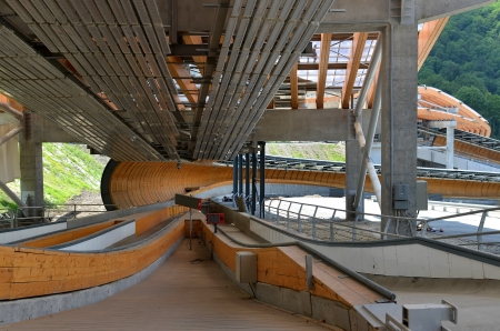 luge: SOCHI, RUSSIA - JULY 10: Male start zone of Sanki Luge Center for Winter Olympics 2014 on July 10, 2013 in Sochi, Russia. Center Luge Sanki. Capacity development: 5000 spectators. After the Olympics to be used as the National Training Center