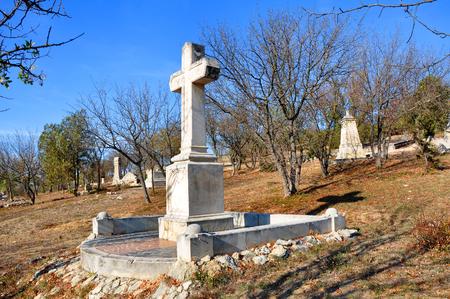 brethren: Autumn on the Brethren Cemetery during the Crimean War, 1853-1856, Sevastopol, Ukraine Stock Photo