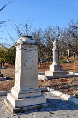 brethren: SEVASTOPOL, UKRAINE - OCTOBER 6: Memorial headstone of Russian Prince Alexander Gorchakov in the Brethren Cemetery on October 6, 201 in Sevastopol, Ukraine. Died in 1883, was buried in the family vault in Russia.