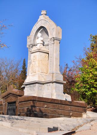 brethren: SEVASTOPOL, UKRAINE - OCTOBER 6: Tomb of Count Eduard Totleben in the Brethren Cemetery on October 6, 201 in Sevastopol, Ukraine. He died in 1884 in Germany