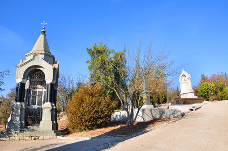 brethren: SEVASTOPOL, UKRAINE - OCTOBER 6: Tomb of Prince Michael Gorchakov in the Brethren Cemetery on October 6, 201 in Sevastopol, Ukraine. He died in 1861, buried as a bequest in Sevastopol