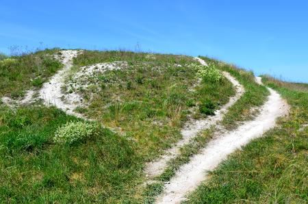 voronezh: Earthen ramparts of Mayatskaya fortress in nature reserve  Divnogorie  in sunny day, Voronezh region, Russia  Stock Photo