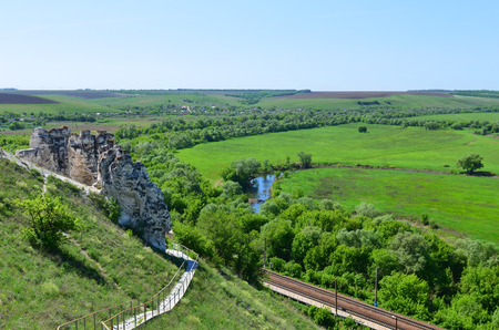 cretaceous: Cretaceous outcrops of nature reserve  Divnogorie  in sunny day, Voronezh region, Russia