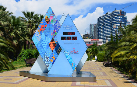 informs: SOCHI, RUSSUA - 2013, MAY 13: Paralympic Winter Games 2014 in Sochi will begin in 282 days, informs about this special Olympic Countdown Clock