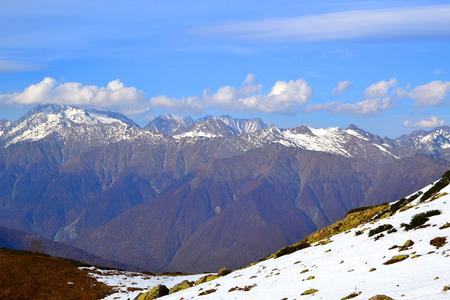 Ridge Achishkho - the wettest place in Russia  Strongly pronounced altitudinal zonation  Early autumn in the mountains of Krasnaya Polyana, Sochi