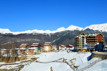 SOCHI, RUSSIA - FEBRUARY 4, 2014  Winter Olympic Games in 2014, mountain Olympic village in Krasnaya Polyana, Sochi city  Editorial