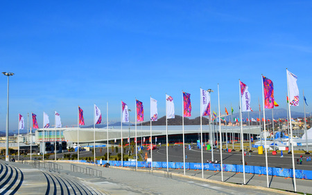olympic symbol: SOCHI, RUSSIA - FEBRUARY 7, 2014  Olympic flags with the symbol of the Sochi 2014 in Olympic park