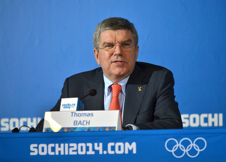 SOCHI, RUSSIA - FEBRUARY 7, 2014  President of  International Olympic Committees Tomas Bach on a press conference a few hours before the opening ceremony of the Olympic Games 2014 Editorial