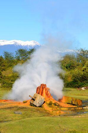 water spring: Thermal mineral water spring near Ochamchira, Abkhazia Stock Photo