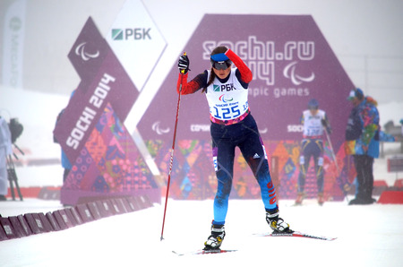 paralympic: SOCHI, RUSSIA - March 11, 2014: Natalia Bratiuk (Russia) competes on Winter Paralympic Games  in Sochi. Biathlon, Women�s 10 km, standing
