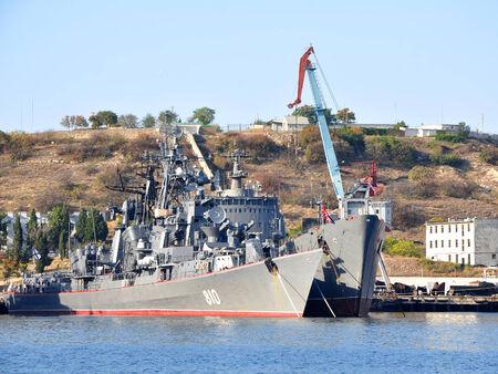 annexation: SEVASTOPOL, UKRAINE - OCTOBER 4, 2012: Russian Black Sea Fleet ships docked in the South Bay of Sevastopol