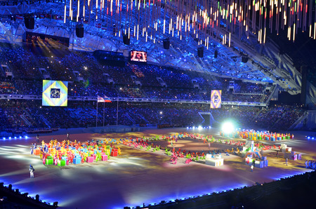 paralympic: SOCHI, RUSSIA � MARCH 16, 2014: The closing ceremony of the Paralympic Winter Games 2014 at Fisht stadium in Olympic Park Editorial