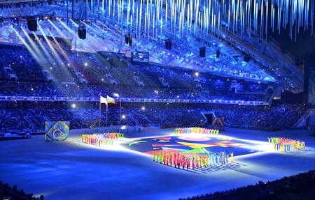 Sochi, in Russia 16 Marzo 2014: La cerimonia di chiusura dei Giochi Paralimpici Invernali 2014 allo stadio Fisht nel Parco Olimpico