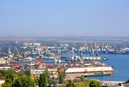 omzet: KERCH, CRIMEA REPUBLIC - 30 September 2012: Kerch sea trading port. Freight turnover of 2.5 million tons per year