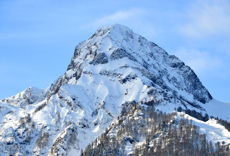 pyramid peak: Western Caucasus. Winter in the mountains of Krasnaya Polyana, Sochi. Aibga ridge, Black Pyramid peak Stock Photo