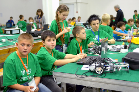 olympiad: SOCHI, RUSSIA � November 21, 2014: Team Russia at the robot Olympiad in Sochi . Here there was the World Robotic Olympiad 2014