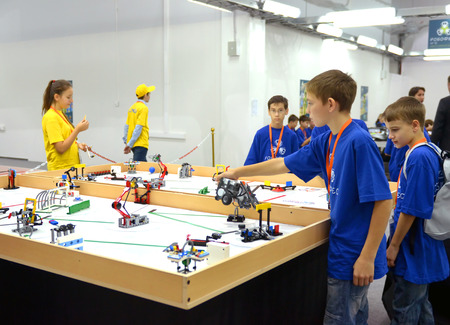 SOCHI, RUSSIA � November 21, 2014: Team Russia at the robot Olympiad in Sochi . Here there was the World Robotic Olympiad 2014