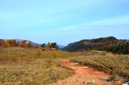 biosphere: Road at the Lagonacky plateau in the Caucasian Biosphere Reserve, Adygeya, Russia. Autumn landscape.