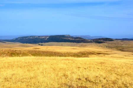 biosphere: Golden grass hills at the Lagonacky plateau in the Caucasian Biosphere Reserve, Adygeya, Russia. Stock Photo