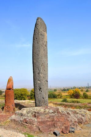 Stone phalluses (menhirs) in the ancient settlement of Metsamor in Armenia