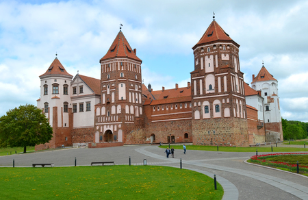 MIR, BELARUS - May 15, 2015: The main entrance of the Mir Castle. Built in the XVI century. An architectural monument, declared a UNESCO World Heritage Site (2000) Editorial