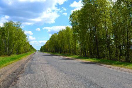 Milled asphalt on the highway at spring