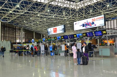 SOCHI, RUSSIA - May 14, 2017: Peoples at Sochi international airport. Passenger registration area.