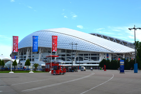 SOCHI, RUSSIA – June 16, 2017: Fischtstadium in the Sochi Olympic Park, decorated with symbols of the FIFA Confederations Cup 2017
