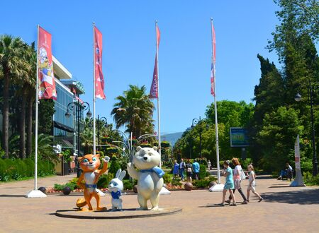 SOCHI, RUSSIA - June 5, 2017: Navaginskaya pedestrian street in the center of the city, decorated with the symbols of the Confederations Cup 2017 and the 2018 FIFA World Cup 2018 and the 2014 Olympics mascots Editorial