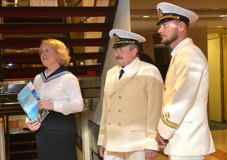 SOCHI, RUSSIA - June 11, 2017: The staff of the cruise liner Prince Vladimir meets passengers on the inner deck. The ship today set off for the first flight from Sochi. Editorial