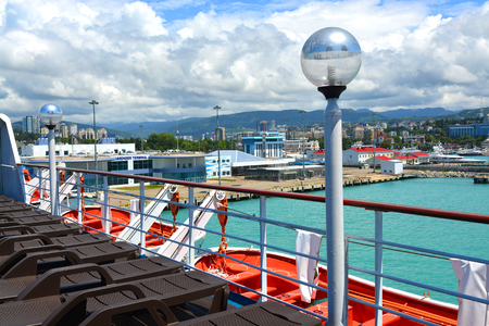 SOCHI, RUSSIA - June 11, 2017: View of Sochi from the open deck of cruise liner Prince Vladimir. The ship today set off for the first flight from Sochi. Editorial