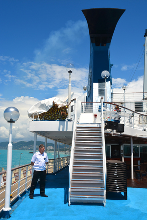 SOCHI, RUSSIA - June 11, 2017: The personnel of the cruise ship Prince Vladimir on the open deck. The ship today set off for the first flight from Sochi.