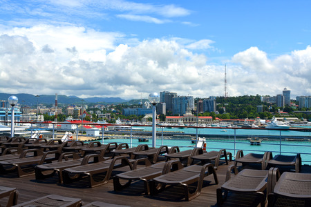 SOCHI, RUSSIA - June 11, 2017: Cityscape of Sochi from the open deck of the cruise liner Prince Vladimir. The ship today set off for the first flight from Sochi.
