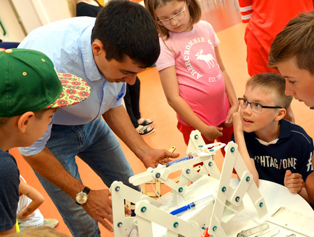 SOCHI, RUSSIA - June 24, 2017: Children  make robots at an open lesson of the All-Russia Educational Center