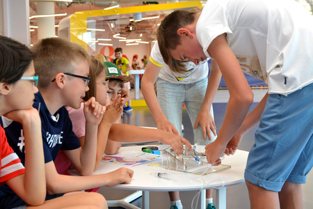 SOCHI, RUSSIA - June 24, 2017: Children  make robots at an open lesson of the All-Russia Educational Center Sirius in Sochi Editöryel