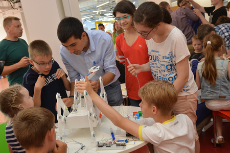 SOCHI, RUSSIA - June 24, 2017: Team work on robotics under the guidance of a teacher at an open lesson of the All-Russian Educational Center