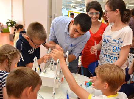 SOCHI, RUSSIA - June 24, 2017: Team work on robotics under the guidance of a teacher at an open lesson of the All-Russian Educational Center Sirius in Sochi Editorial