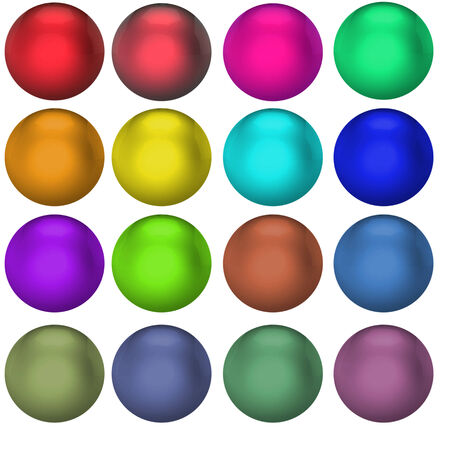 Colored glass balls of different colors on white background photo