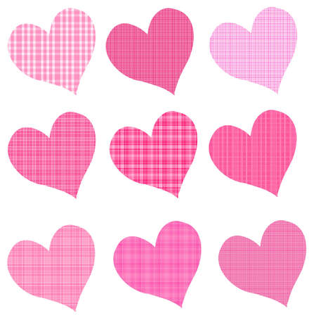 Pink Plaid Hearts Stock Photo