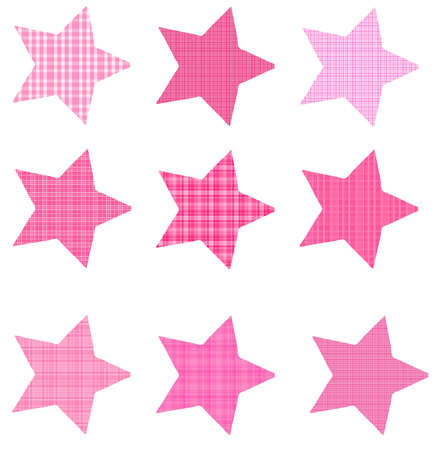 Pink Plaid Slanted Stars