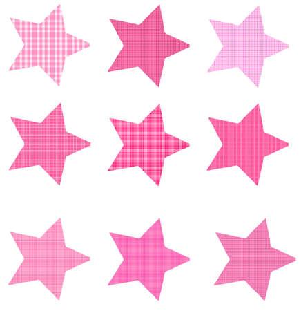 Pink Plaid Slanted Stars