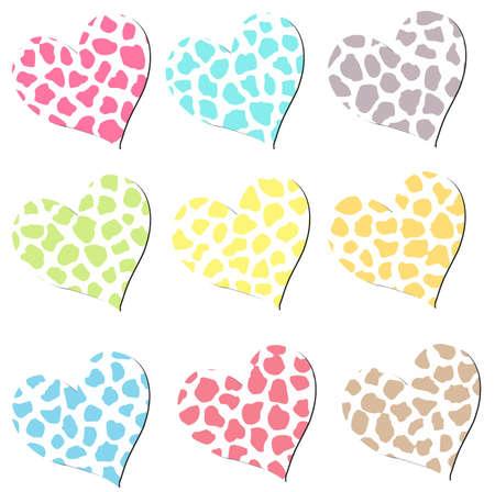 Colorful Cheetah Hearts