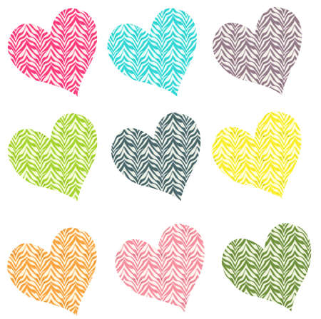 Colorful Zebra Hearts Stock Photo